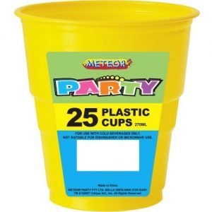 25pk Yellow Solid Colour Plastic Cups 30086