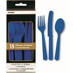 18pk Royal Blue Solid Colour Plastic Assorted Cutlery 30746