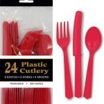 24pk Red Solid Colour Plastic Assorted Cutlery 3134