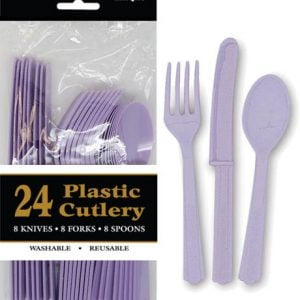 24pk Lavender Solid Colour Plastic Assorted Cutlery 31364