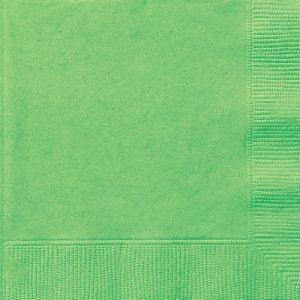 20pk Lime Green Solid Colour Beverage Luncheon Napkins Serviettes 31371 31372