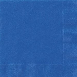 20pk Royal Blue Solid Colour Beverage Luncheon Napkins Serviettes 31461 31462