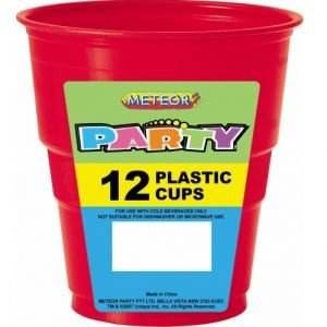 12pk Red Solid Colour Plastic Cups 32015