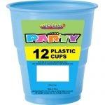 12pk Light Powder Blue Solid Colour Plastic Cups 32035
