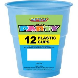 12pk Light Powder Blue Solid Colour Plastic Cups 32035