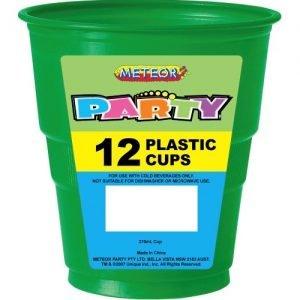 12pk Emerald Green Solid Colour Plastic Cups 32065