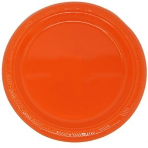 Orange Solid Colour Plastic Plates Party Tableware 32071 32072