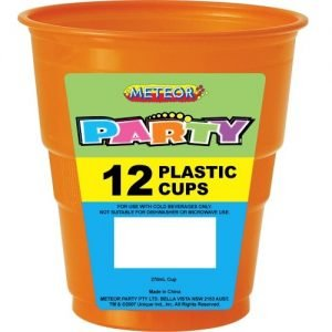 12pk Pumpkin Orange Solid Colour Plastic Cups 32075