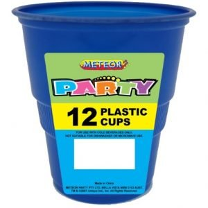 12pk Royal Blue Solid Colour Plastic Cups 32758