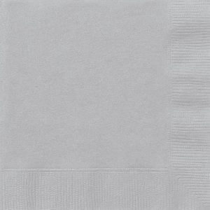 20pk Silver Solid Colour Beverage Luncheon Napkins Serviettes 3341 3342