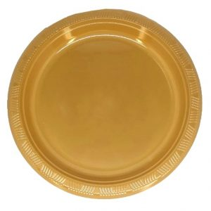 Gold Solid Colour Plastic Plates Party Tableware 34331 34332