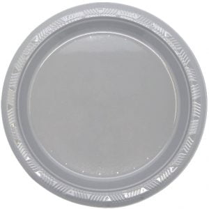 Silver Solid Colour Plastic Plates Party Tableware 34336 34337