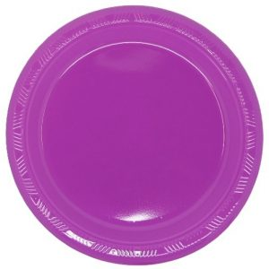 Purple Solid Colour Plastic Plates Party Tableware 34370 34371