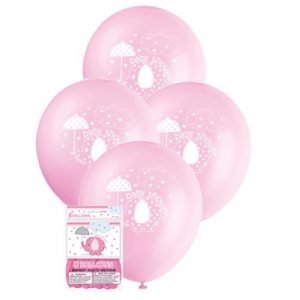 "Umbrellaphant Baby Shower Girls Pink 8 Latex Balloons 30cm (12"") 41665"