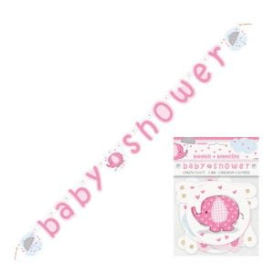 Umbrellaphant Baby Shower Girls Pink Paper Jointed Banner 1.6m (5.24') 41669