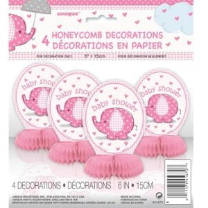 "Umbrellaphant Baby Shower Girls Pink 4 Mini Honeycomb Decorations 15cm H (6"") 41670"