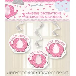 "Umbrellaphant Baby Shower Girls Pink 3 Hanging Swirl Decorations 90cm L (36"") 41672"