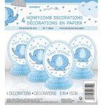 Umbrellaphant Baby Shower Boys Blue 4 Mini Honeycomb Decorations 15cm H (6″) 41710