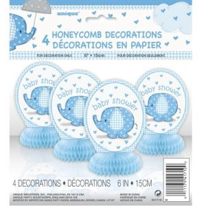 "Umbrellaphant Baby Shower Boys Blue 4 Mini Honeycomb Decorations 15cm H (6"") 41710"