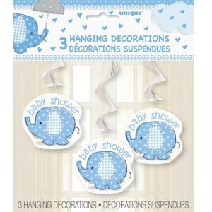 "Umbrellaphant Baby Shower Boys Blue 3 Hanging Swirl Decorations 90cm L (36"") 41712"