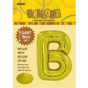 """86CM (34"""") Gold Letter B Giant Jumbo Alphabet Helium Foil Balloon 43161"""
