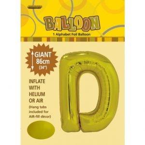 """86CM (34"""") Gold Letter D Giant Jumbo Alphabet Helium Foil Balloon 43163"""