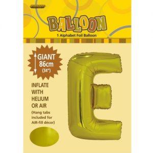 """86CM (34"""") Gold Letter E Giant Jumbo Alphabet Helium Foil Balloon 43164"""