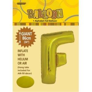 """86CM (34"""") Gold Letter F Giant Jumbo Alphabet Helium Foil Balloon 43165"""
