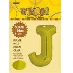 """86CM (34"""") Gold Letter J Giant Jumbo Alphabet Helium Foil Balloon 43169"""