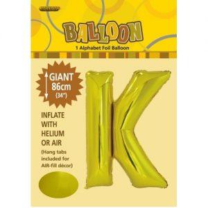 """86CM (34"""") Gold Letter K Giant Jumbo Alphabet Helium Foil Balloon 43170"""