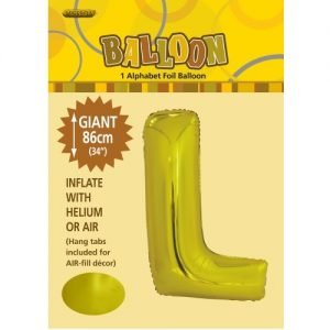 """86CM (34"""") Gold Letter L Giant Jumbo Alphabet Helium Foil Balloon 43171"""