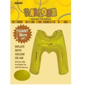"""86CM (34"""") Gold Letter M Giant Jumbo Alphabet Helium Foil Balloon 43172"""