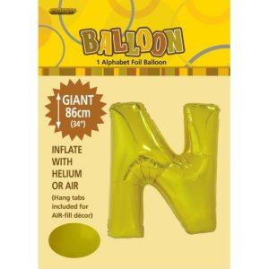 """86CM (34"""") Gold Letter N Giant Jumbo Alphabet Helium Foil Balloon 43173"""