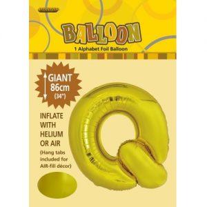 """86CM (34"""") Gold Letter Q Giant Jumbo Alphabet Helium Foil Balloon 43176"""