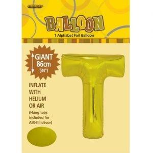 """86CM (34"""") Gold Letter T Giant Jumbo Alphabet Helium Foil Balloon 43179"""
