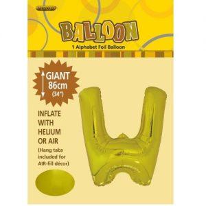 """86CM (34"""") Gold Letter W Giant Jumbo Alphabet Helium Foil Balloon 43182"""