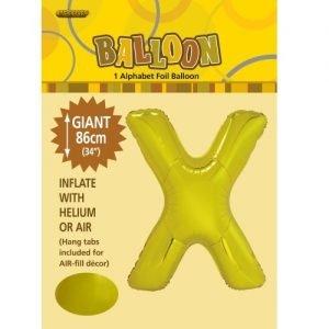 """86CM (34"""") Gold Letter X Giant Jumbo Alphabet Helium Foil Balloon 43183"""