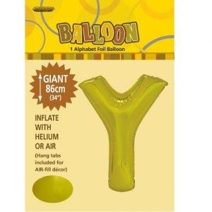 """86CM (34"""") Gold Letter Y Giant Jumbo Alphabet Helium Foil Balloon 43184"""