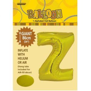 """86CM (34"""") Gold Letter Z Giant Jumbo Alphabet Helium Foil Balloon 43185"""