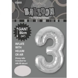 "86CM (34"") Silver Number 3 Giant Jumbo Numeral Helium Foil Balloon 48293"