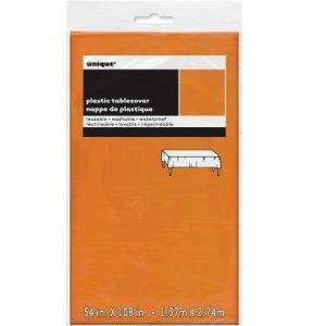 Orange Rectangle Solid Colour Plastic Table Cover Tablecloth 137CM x 274CM 50356
