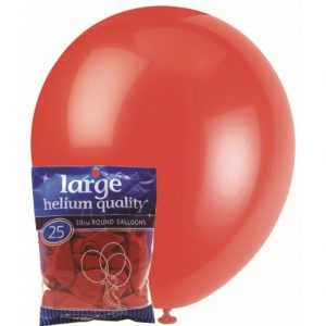 25pk Bright Red Solid Colour Latex Round Balloons 30cm Party Decorations MFBD-2548