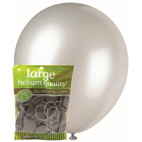 25pk Metallic Silver Solid Colour Latex Round Balloons 30cm Party Decorations MFBM-2567
