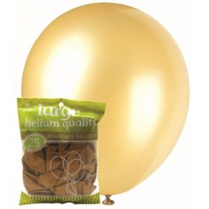 25pk Metallic Gold Solid Colour Latex Round Balloons 30cm Party Decorations MFBM-2568