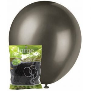 25pk Metallic Black Solid Colour Latex Round Balloons 30cm Party Decorations MFBM-2571