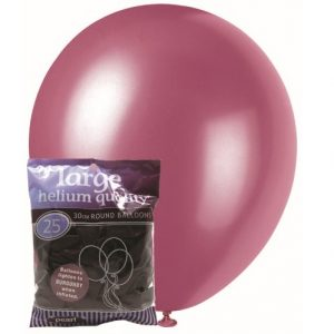 25pk Burgundy Solid Colour Latex Round Balloons 30cm Party Decorations MFBP-2585