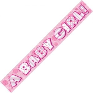 """A Baby Girl"" Prism Banner Baby Shower Girls Pink 10876"