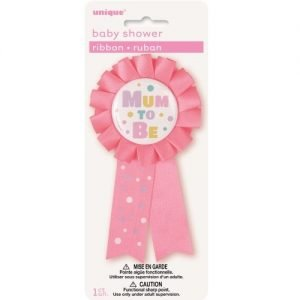 Mum To Be Award Ribbon Badge Baby Shower Girls Pink 13917