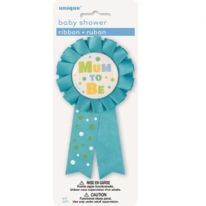 Mum To Be Award Ribbon Badge Baby Shower Boys Blue 13918