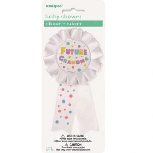 Future Grandma Award Ribbon Badge Baby Shower White 13920